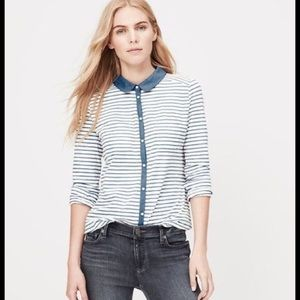 Loft striped button up with chambray collar